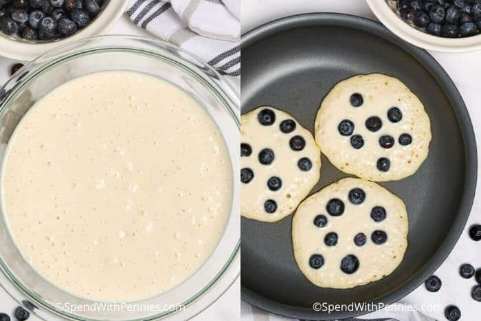 Batter for Blueberry Pancakes and pancakes cooking in a pan