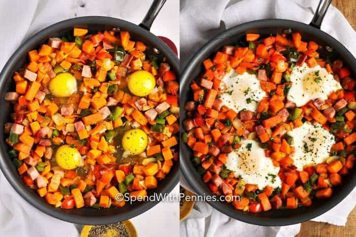 Left image shows Sweet Potato Hash with 4 raw eggs, right image shows Sweet Potato Hash with 4 cooked eggs.