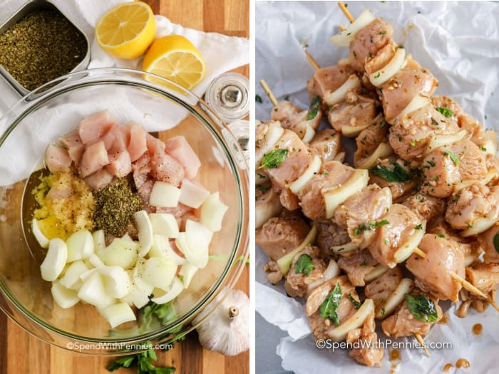 Raw Souvlaki in a glass bowl and on skewers