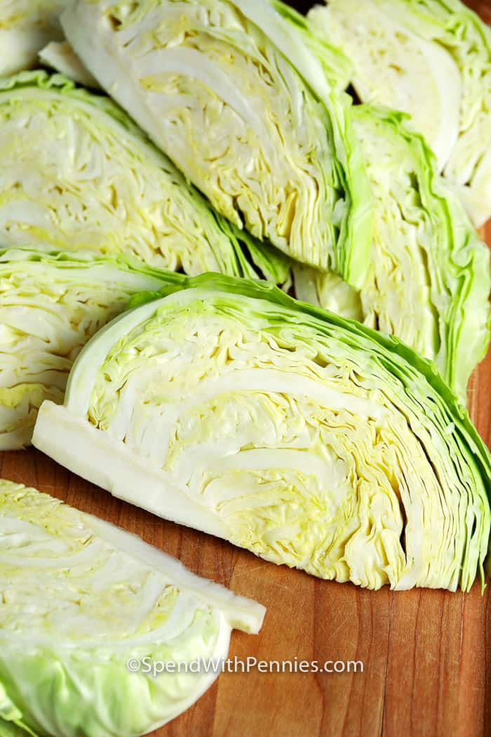 Wedges of raw cabbage used for Boiled Cabbage