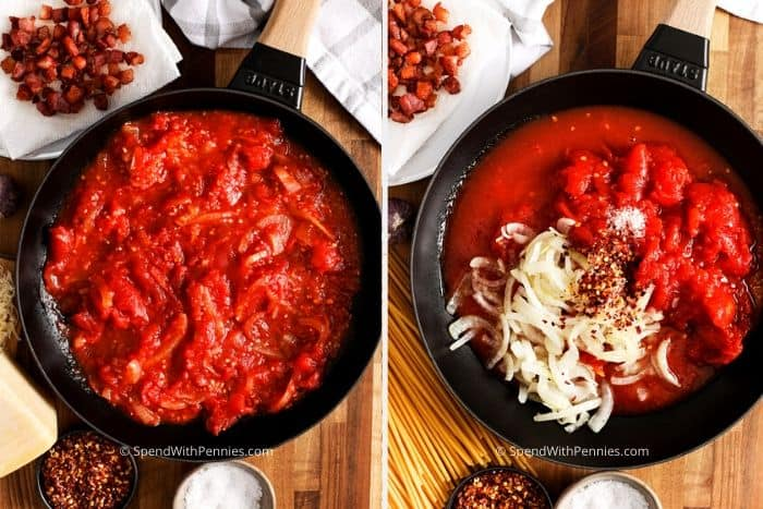 Two images showing the steps to prepare the homemade tomato sauce.