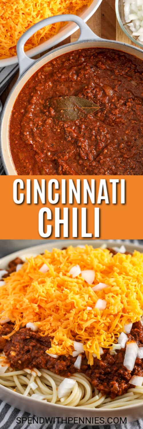 Top image - Cincinnati Chili cooking in a sauce pan. Bottom image - Cincinnati Chili served 4 way with onions.