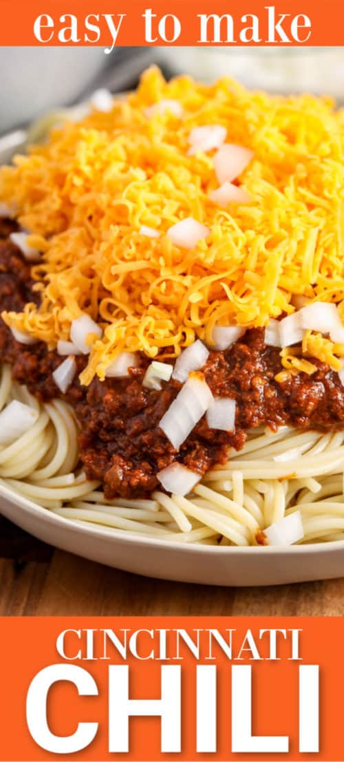 Cincinnati Chili on a plate with writing
