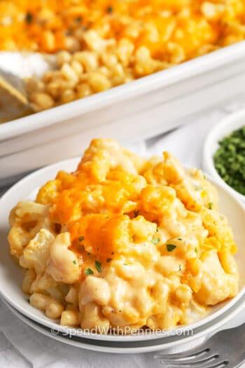 cauliflower mac and cheese on a plate