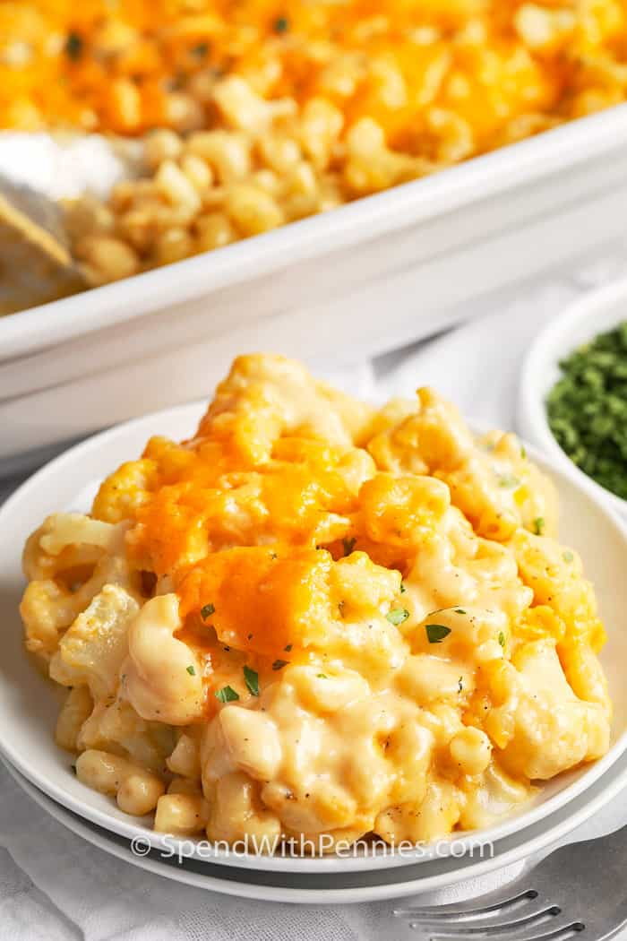 cauliflower mac and cheese on a plate