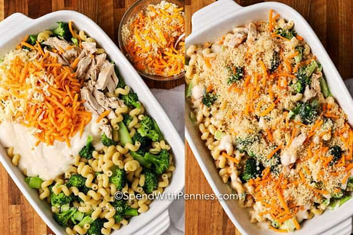 Two images showing chicken broccoli casserole ingredients in a casserole dish, then combined and topped with breadcrumbs.