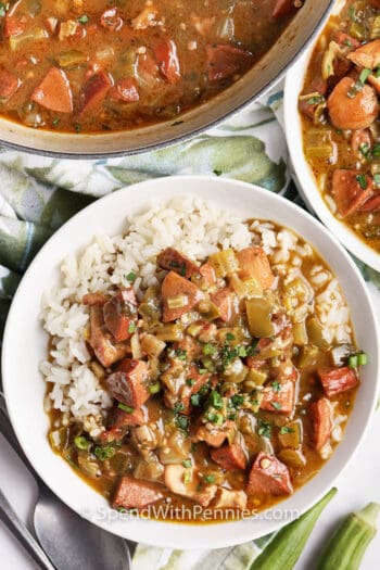Chicken and Sausage Gumbo in a dish and a large bowl