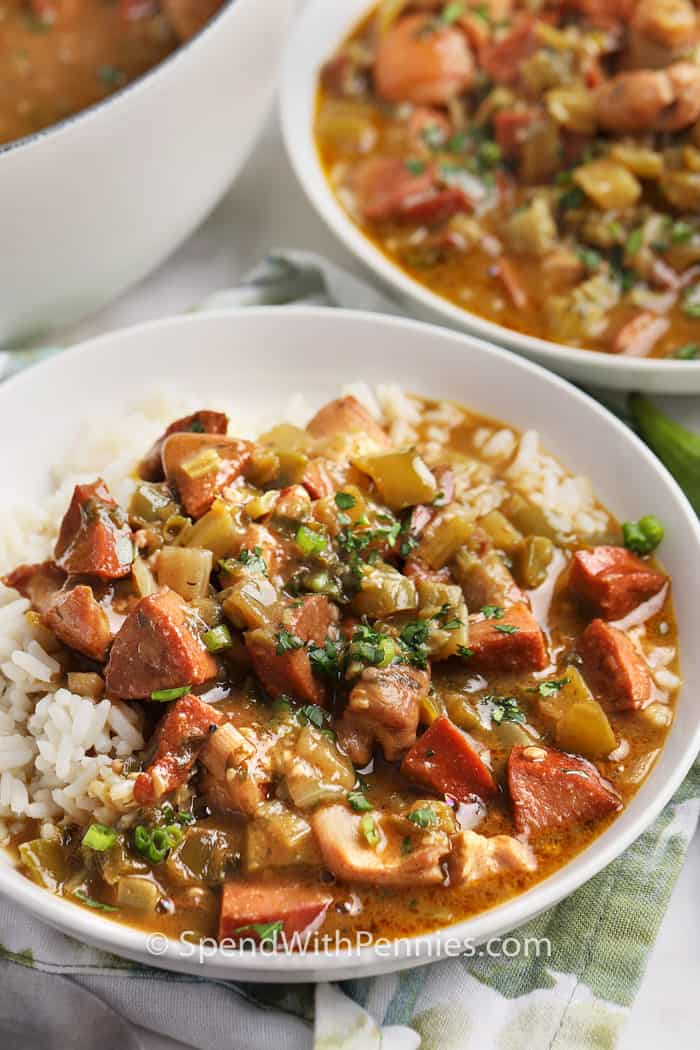 Chicken and Sausage Gumbo in two bowls