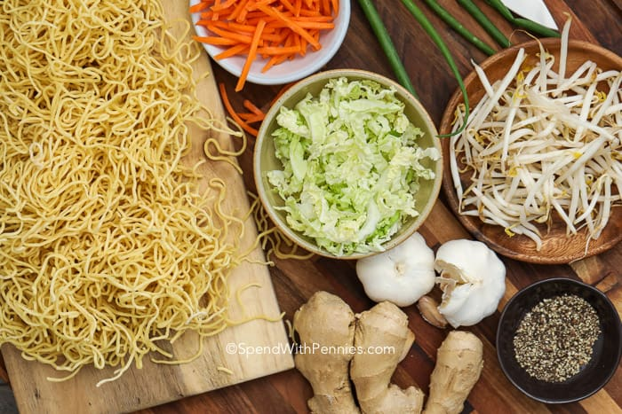 Ingredients for Chow Mein on a cutting board