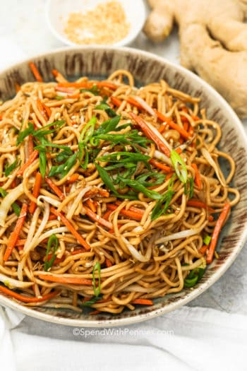 Chow Mein in a bowl with green onions as garnish