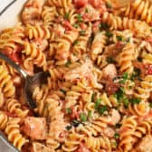 Creamy Tomato Chicken Pasta Skillet with a spoon