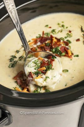 Spoonful of Crockpot Potato Soup in a crockpot