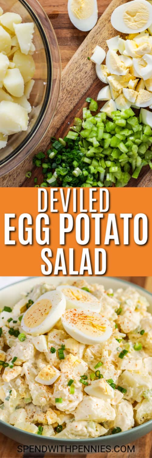 Ingredients for Deviled Egg Potato Salad with writing