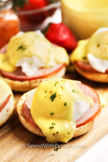 Eggs Benedict ready to serve