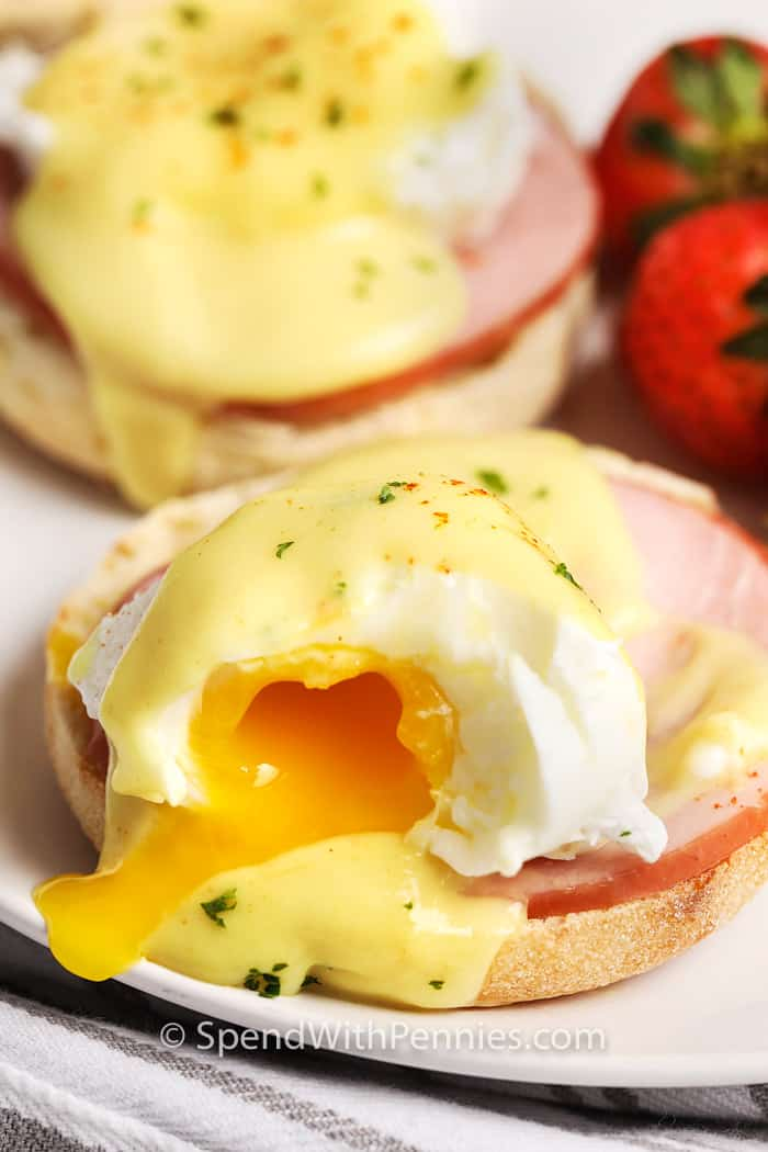 Eggs Benedict cut and ready to serve