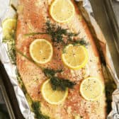 Garlic Butter Salmon in tin foil with lemon and dill