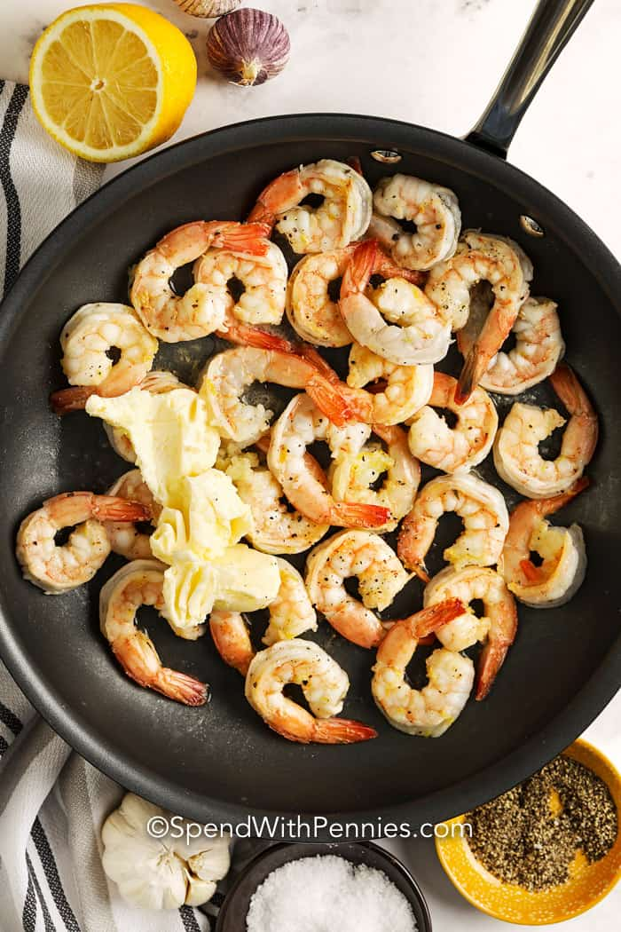 Garlic Butter Shrimp with lemon in a pan