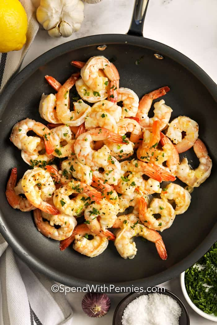 Garlic Butter Shrimp in a pan