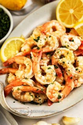 Garlic Butter Shrimp on a plate