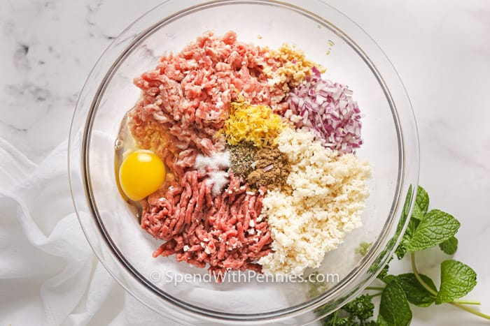 Greek Meatball ingredients ready to mix