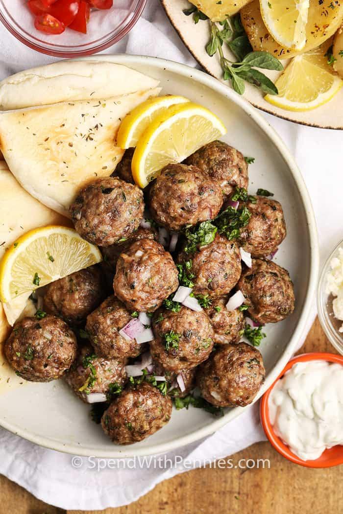 Greek Meatballs served with pita