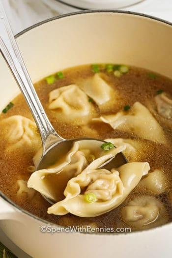 Spoonful of Homemade Wonton Soup