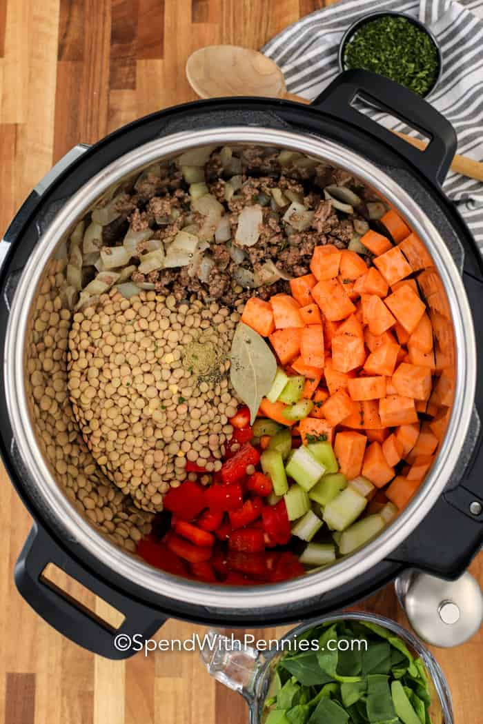 Two images showing the lentil soup ingredients being added into the Instant Pot.