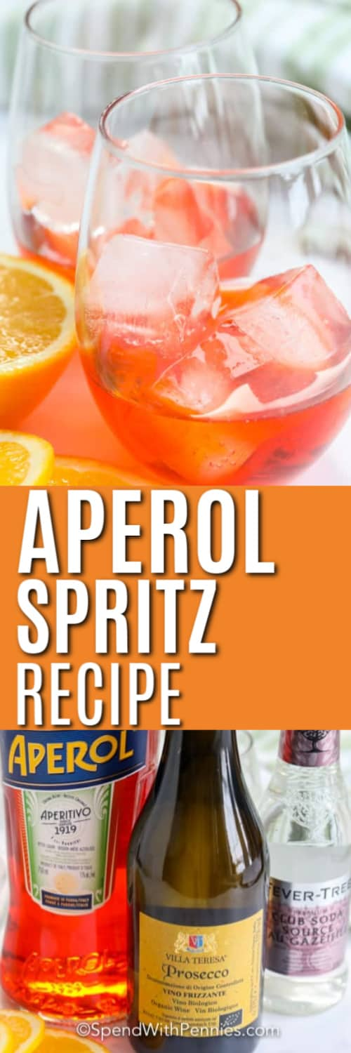 Top image - Aperol spritz with orange slice. Bottom image - Aperol spritz ingredients.