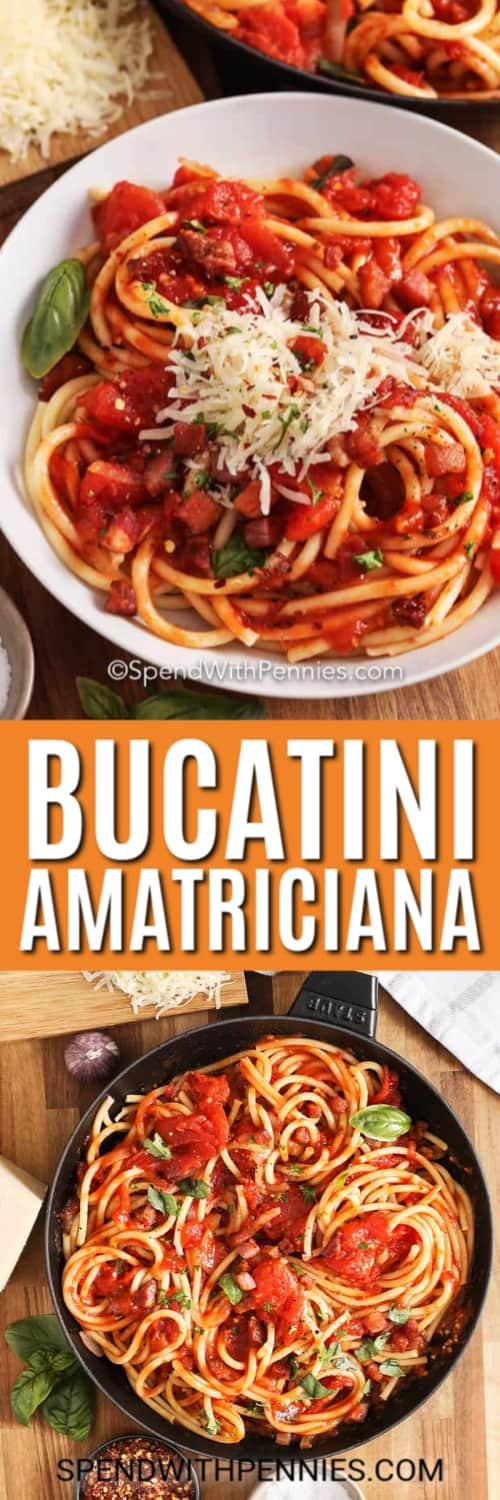 Top image - a serving of bucatini amatriciana. Bottom image - Bucatini amatriciana prepared in a frying pan.