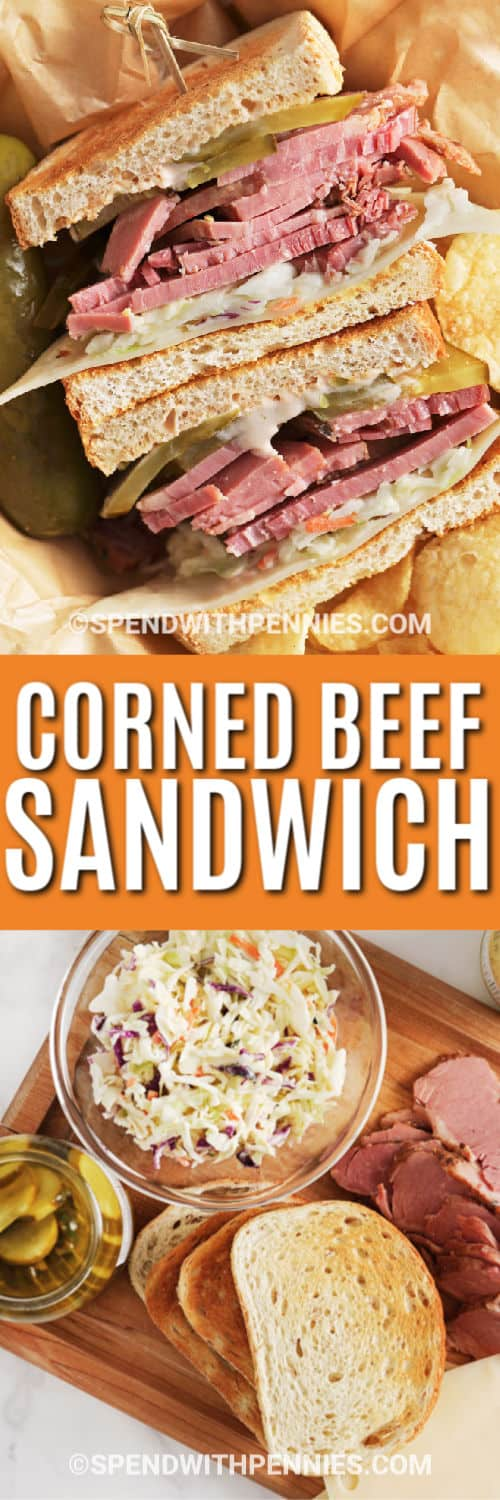 Ingredients for Corned Beef Sandwich on a cutting board with a title