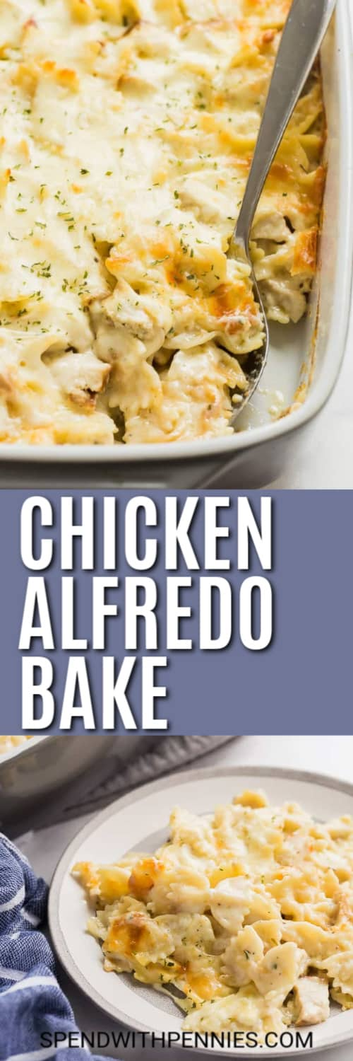Chicken Alfredo Bake being scooped out of the casserole dish