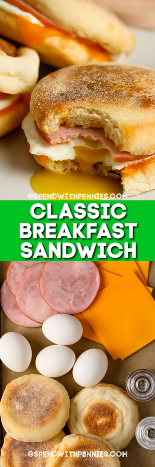 Classic Breakfast Sandwiches and ingredients with a title