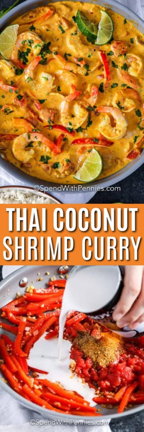Top image - Coconut shrimp curry with lime wedges on top. Bottom image - Coconut milk being pourde into curry mixture.