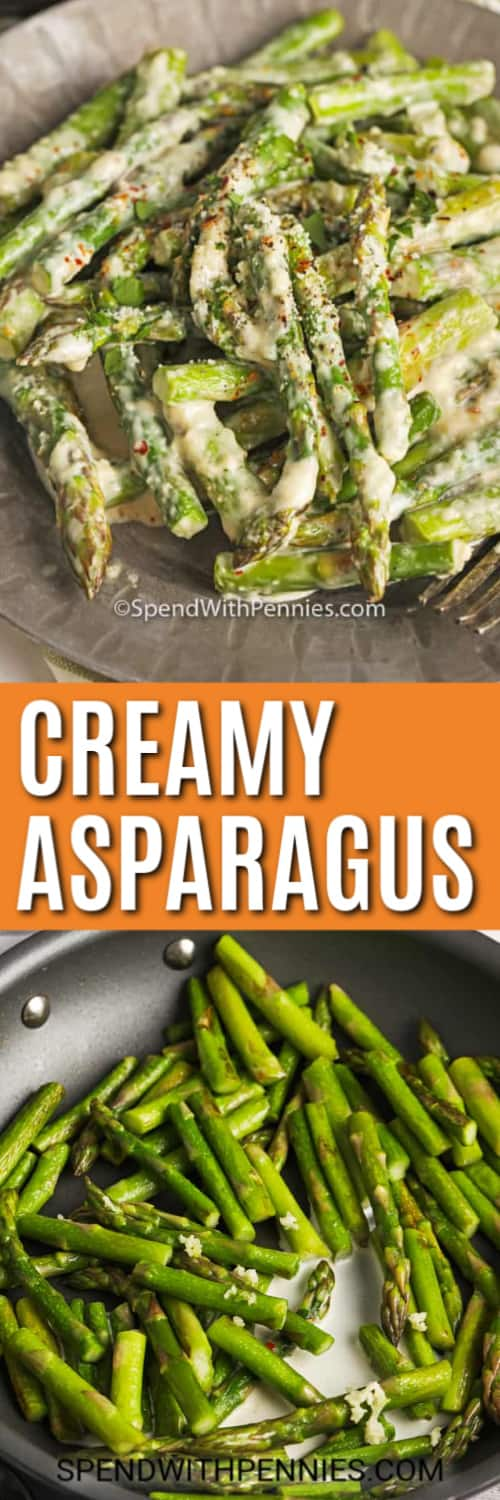 Top image - a serving of creamy asparagus. Bottom image - asparagus being cooked in a cream sauce.