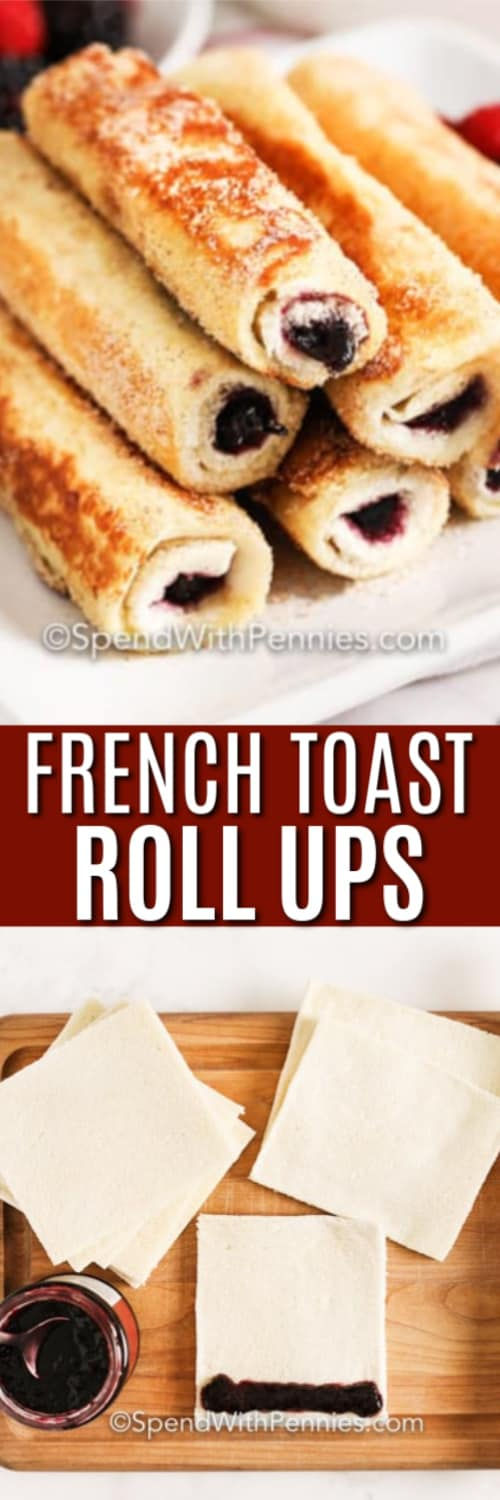 Ingredients for French Toast Roll Ups with writing