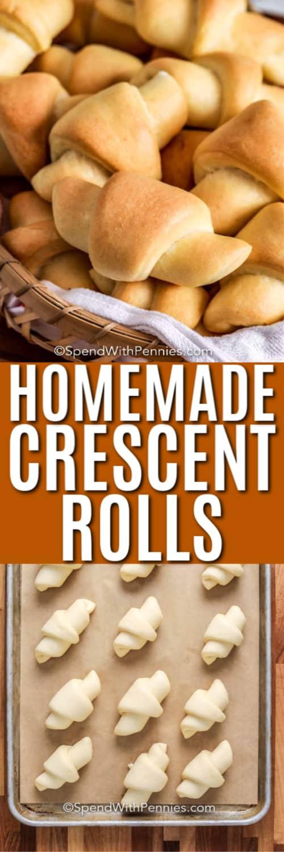 Top image - crescent rolls in a basket. Bottom image - crescent rolls prepped on a baking sheet.