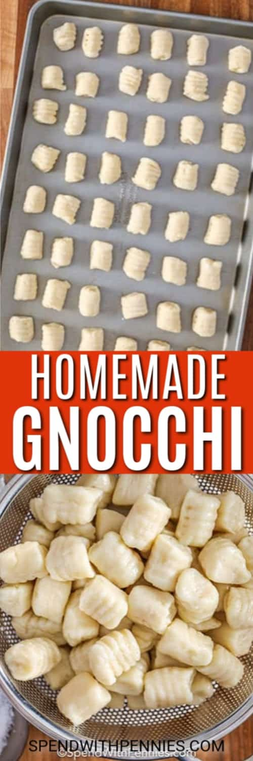 Homemade gnocchi on a baking sheet and in a strainer with writing