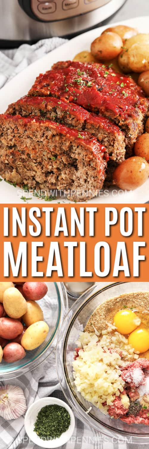Ingredients for Instant Pot Meatloaf with a title