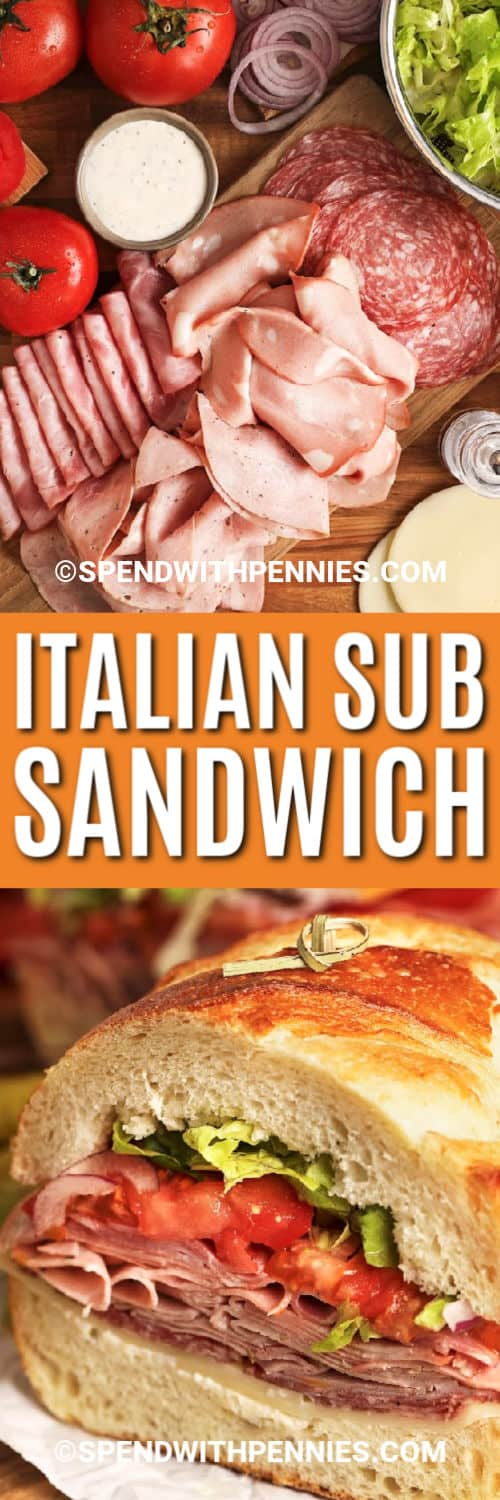 Italian Sub Sandwich ingredients with writing