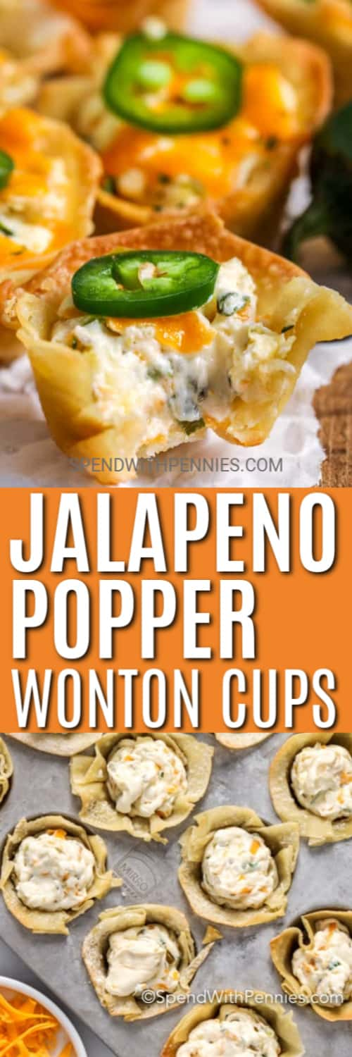 Top image - jalapeno popper wonton cups with a slice of jalapeno on top. Bottom image - Jalapeno popper wonton cups prepared to go in the oven.