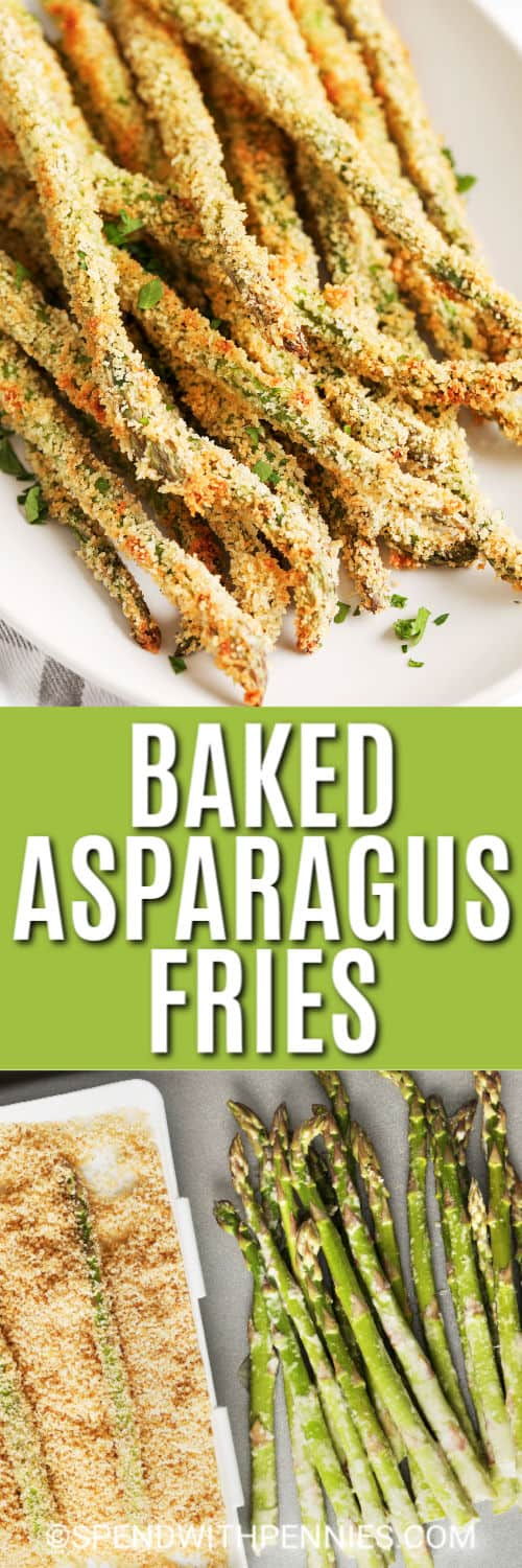 Breaded asparagus fries on a plate and being breaded