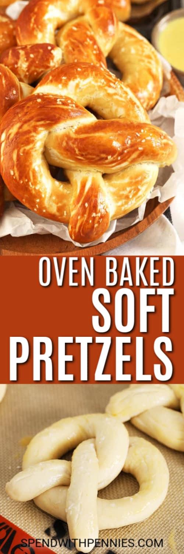 Top image - oven baked soft pretzels ina basket. Bottom image - Pretzels formed on a baking sheet.