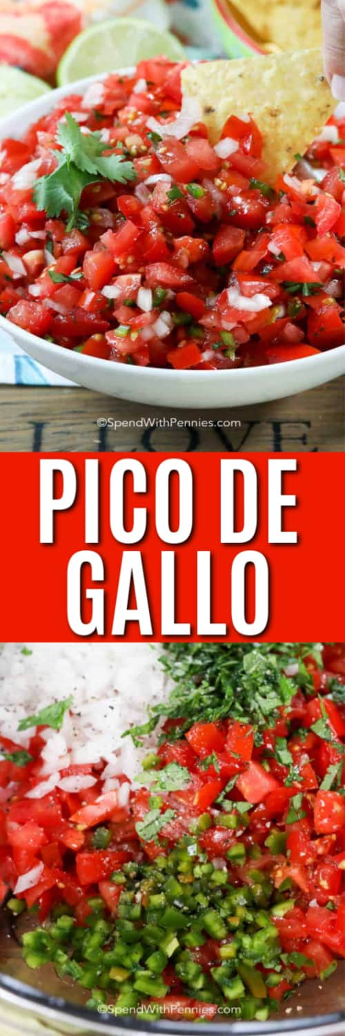 Top image - pico de gallo being scooped up with a chip. Bottom image - pico de gallo ingredients in a bowl.
