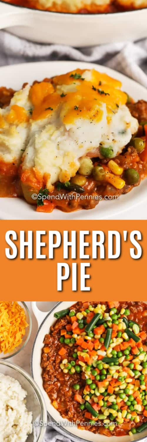 Top photo - A serving of shepherd's pie on a plate topped with cheese. Bottom photo - Ingredients assembled to make Shepherd's Pie.