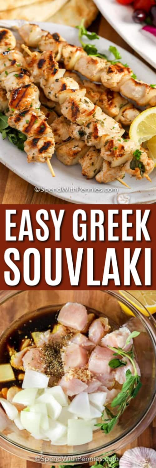 Top image - chicken souvlaki prepared on a plate. Bottom image - chicken and onions being tossed in the souvlaki marinade.