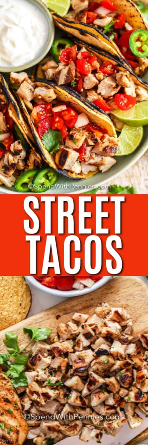 Street Tacos on a plate with a title