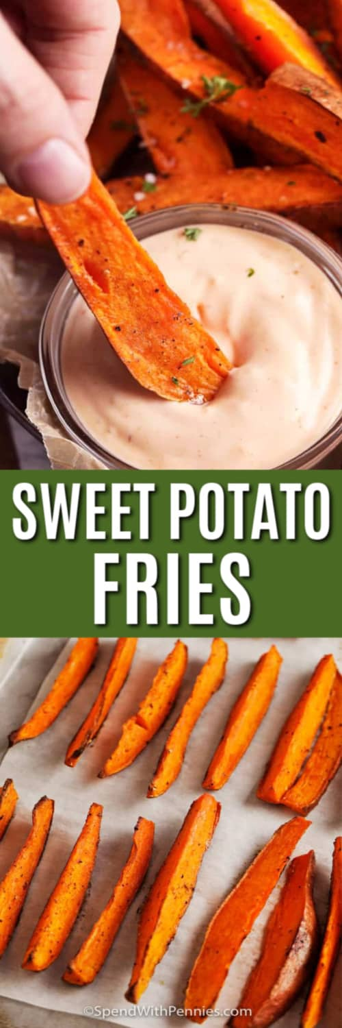 Sweet Potato Fries on a baking sheet and being dipped with writing