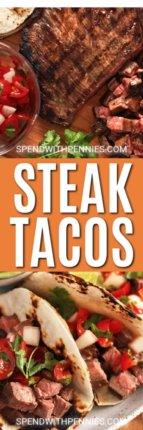 Steak Tacos with writing