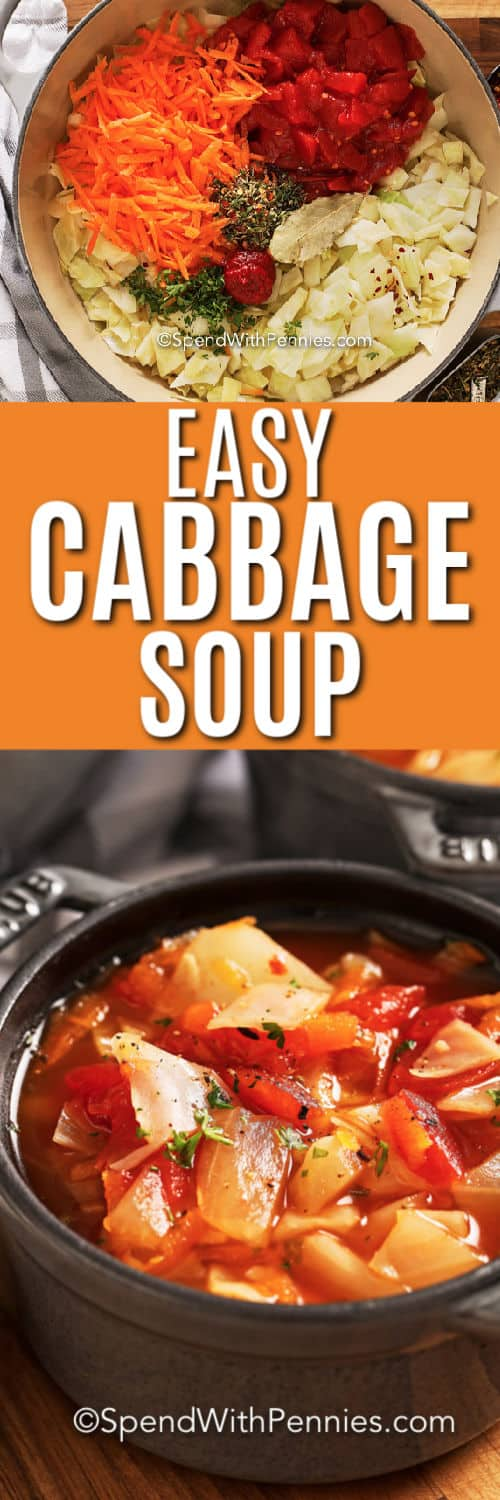 Top image - Cabbage soup ingredients in a pot. Bottom image - a serving of cabbage soup.