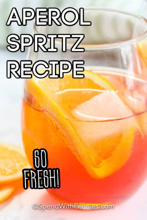 Aperol Spritz in a glass with a title